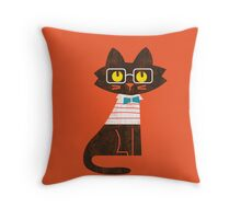 Fritz the preppy cat Throw Pillow