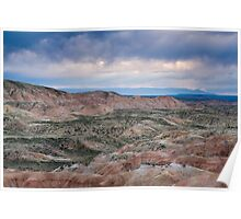 Stormy Weather Over Badlands Poster