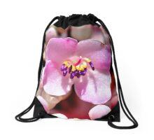 Lone Pink Flower Bloom  Drawstring Bag