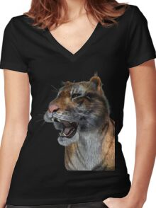 Majestic Tiger Women's Fitted V-Neck T-Shirt