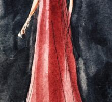 red dress fashion illustration:) Sticker