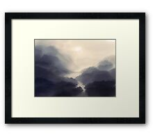 The bridge in the mist Framed Print