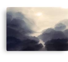 The bridge in the mist Canvas Print