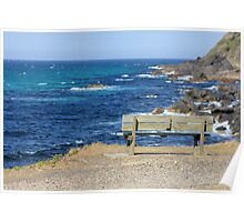 Empty bench at Forster, New South Wales Poster