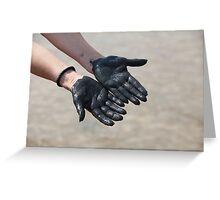 hands in black mud Greeting Card