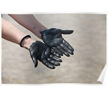 hands in black mud Poster