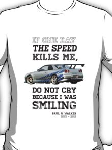 Paul Walker Tribute GTR - Halftone T-Shirt