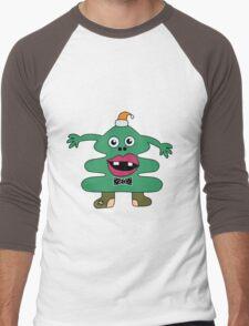 New Year Tree Cute Monster Men's Baseball ¾ T-Shirt