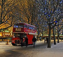 Red London Bus in the Snow by Kathryn Burrington