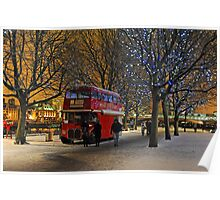 Red London Bus in the Snow Poster