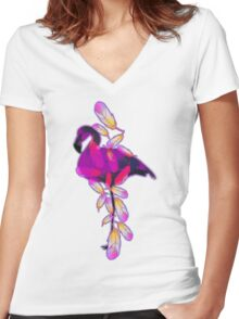 Flamingo Women's Fitted V-Neck T-Shirt