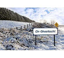 an ghaeltacht sign in irish snow scene Photographic Print