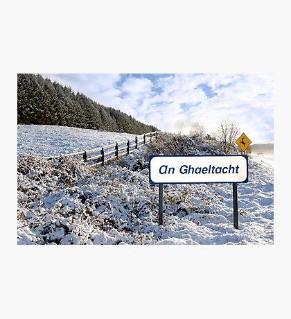 an ghaeltacht sign in irish snow scene Photographic Print
