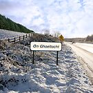 an ghaeltacht sign in irish snowscape by morrbyte