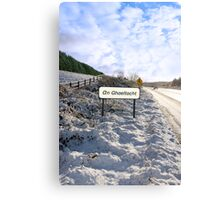 an ghaeltacht sign in irish snowscape Canvas Print