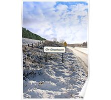 an ghaeltacht sign in irish snowscape Poster