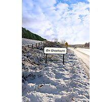 an ghaeltacht sign in irish snowscape Photographic Print