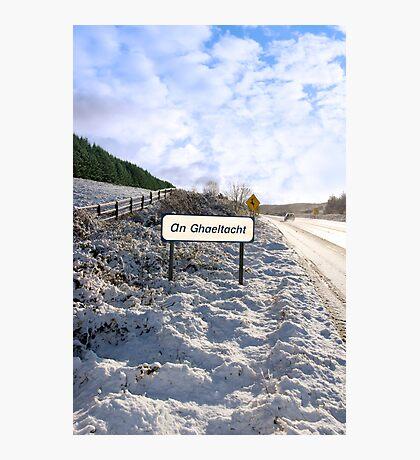 an ghaeltacht sign in irish snowscape Photographic Print
