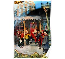 Shopping in London at Christmas Poster