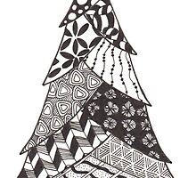 Zentangle Christmas Tree 011 by Ryan Elizabeth Woelfel