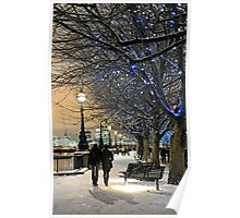 London in the snow at Christmas Poster