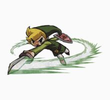 Link fighting with sword Kids Tee