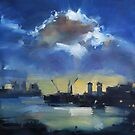 Cloud over Docklands ~ oil painting by Roz McQuillan