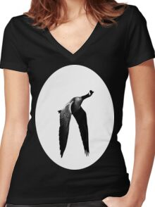 Flying Canada Goose Women's Fitted V-Neck T-Shirt