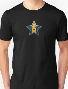 Barbados Flag inside of an Aged and Scratched Star Unisex T-Shirt