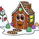 Gingerbread House Snowman Cartoon by Graphxpro