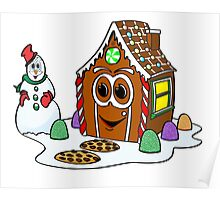 Gingerbread House Snowman Cartoon Poster