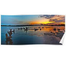 River scultptures at sunrise Poster