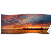 panoramic sunset in the Guadiana river Poster