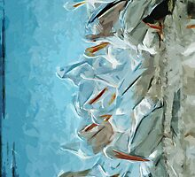 White Pelicans and Friend Abstract Impressionism by pjwuebker