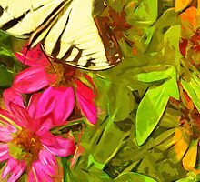 Eastern Tiger Swallowtail Butterfly Abstract Impressionism by pjwuebker