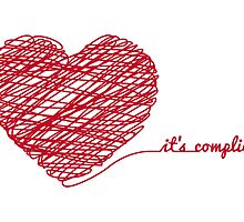 "red scribble heart with text ""it's complicated"" by beakraus"