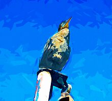 Double Crested Cormorant on Mast Abstract Impressionism by pjwuebker
