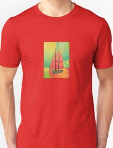 Cubist Abstract Sailing Boat T-Shirt