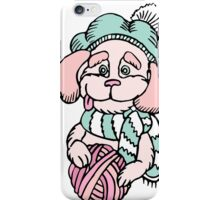 Cute puppy in beret with yarn ball iPhone Case/Skin