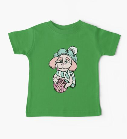 Cute puppy in beret with yarn ball Baby Tee