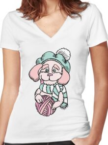 Cute puppy in beret with yarn ball Women's Fitted V-Neck T-Shirt