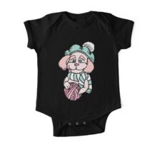 Cute puppy in beret with yarn ball One Piece - Short Sleeve