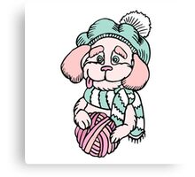 Cute puppy in beret with yarn ball Canvas Print