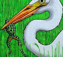 Egret with Frog by Laural Retz