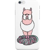 Cute pink lama with yarn iPhone Case/Skin