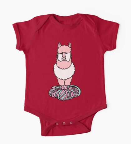 Cute pink lama with yarn One Piece - Short Sleeve