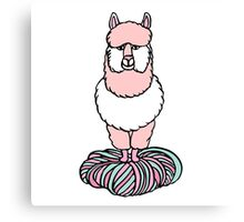 Cute pink lama with yarn Canvas Print