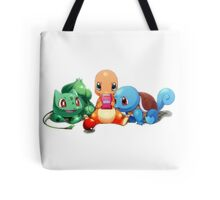 Charmander, Bulbasaur, and Squirtle playing Gameboy Tote Bag