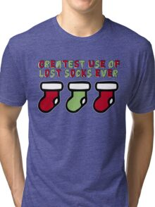 Holiday Humor - Greatest use of lost socks ever (christmas stockings) Tri-blend T-Shirt