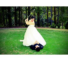 Taking a swing and praying Photographic Print